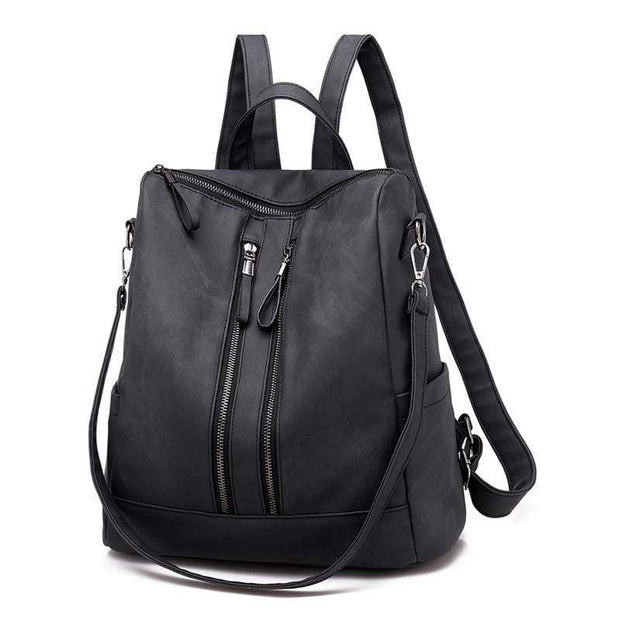 Obangbag Black Casual Retro Laptop Leather Work Backpack Shoulder Bag