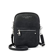 Obangbag Black Chic Douple Zipper Women Mini Phone Bag Crossbody Bag