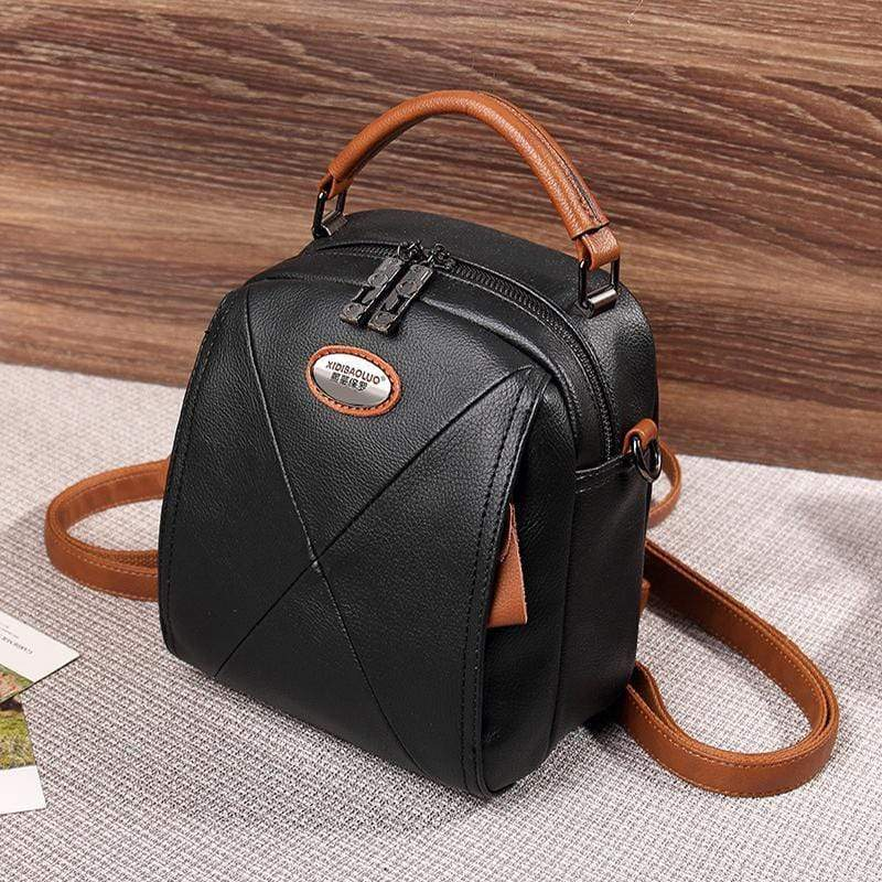 Obangbag Black Colorful Stylish Pockets Small Leather Professional Backpack Crossbody Bag