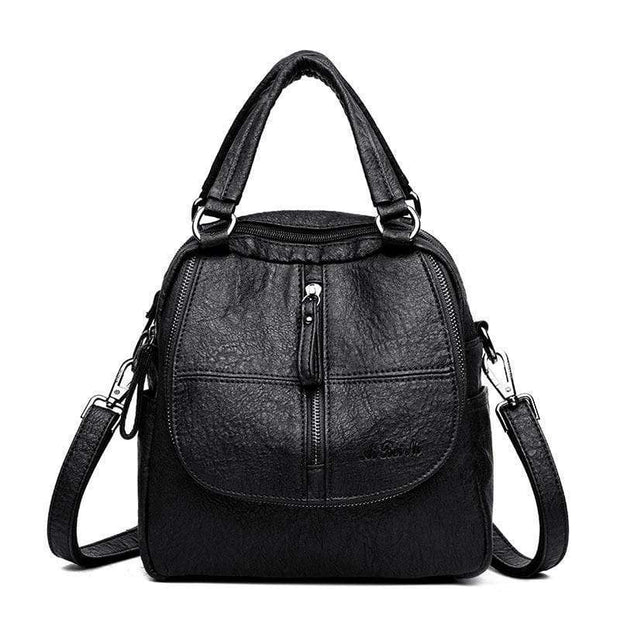 Obangbag Black Double Layer Side Pockets Leather Backpack For Women