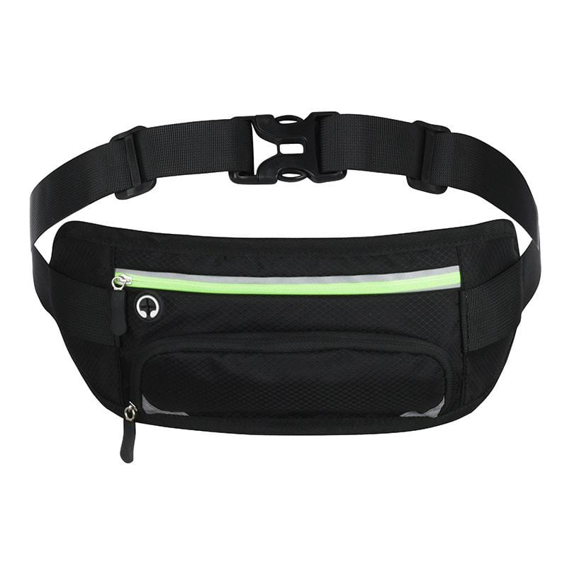 Obangbag Black+Green Unisex Large Capacity Earphone Access Outdoor Waterproof Fanny Pack Waist Bag for Sport