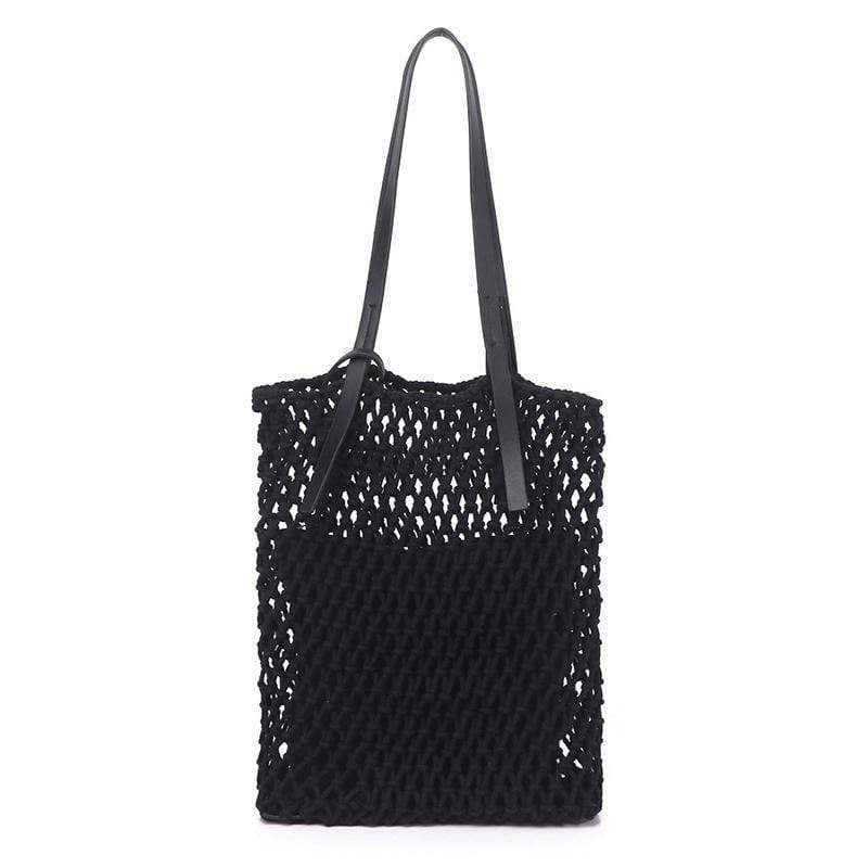 Obangbag Black Ladies Fashion Mesh Straw Rattan Summer Mini Cute Small Beach Bag Handbag