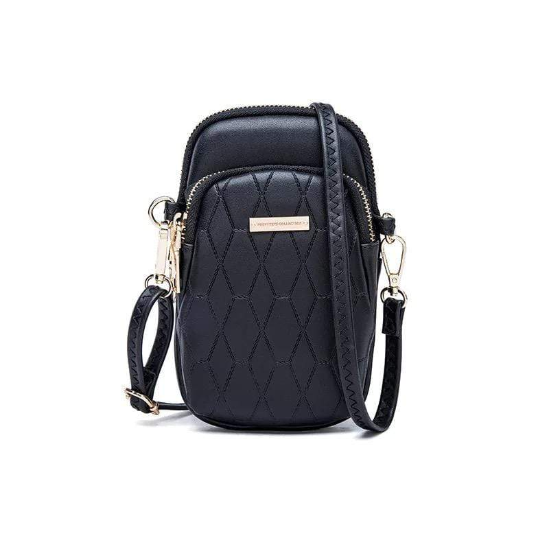 Obangbag Black Ladies Fashion Mini Leather Crossbody Bag Phone Bag