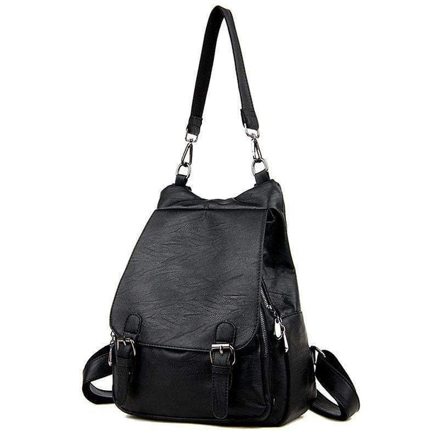 obangbag Black Ladies Multi Pockets Large Capacity Leather Backpack Shoulder Bag