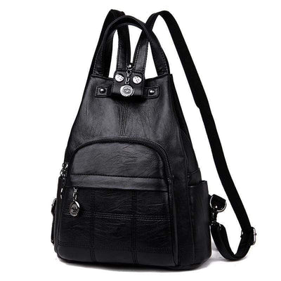 Obangbag black Ladies Outdoor With Lots Of Pockets Leather Backpack