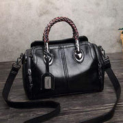 obangbag Black Ladies Retro Large Capacity Leather Tote Bag Work Shoulder Bag