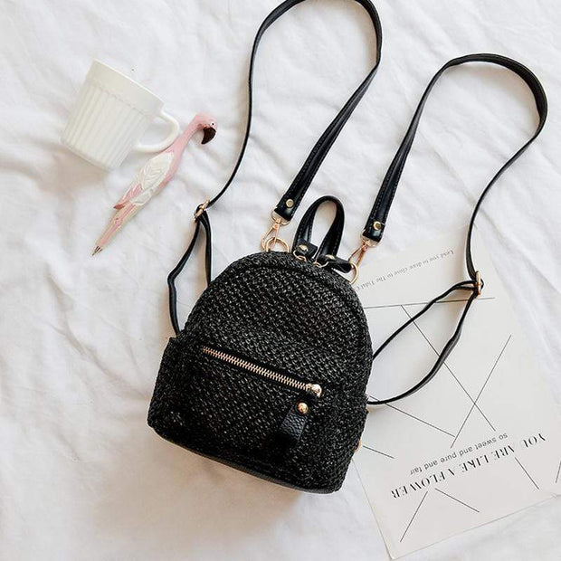 Obangbag Black Ladies Summer Multi Function Chic Straw Rattan Woven Mini Small Cute Backpack