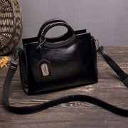 Obangbag Black Large Capacity Multi Purpose Ladies Work Retro Leather Tote Bag