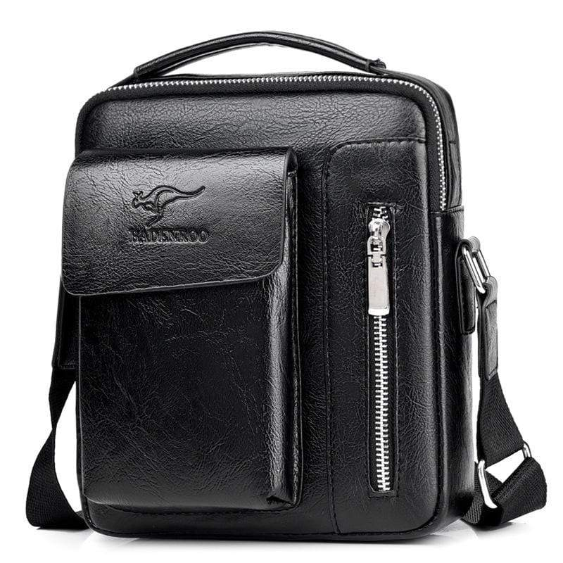 Obangbag Black / Large Men Retro Multi Pockets Professional Large Capacity Leather Handbag Crossbody Bag for Work