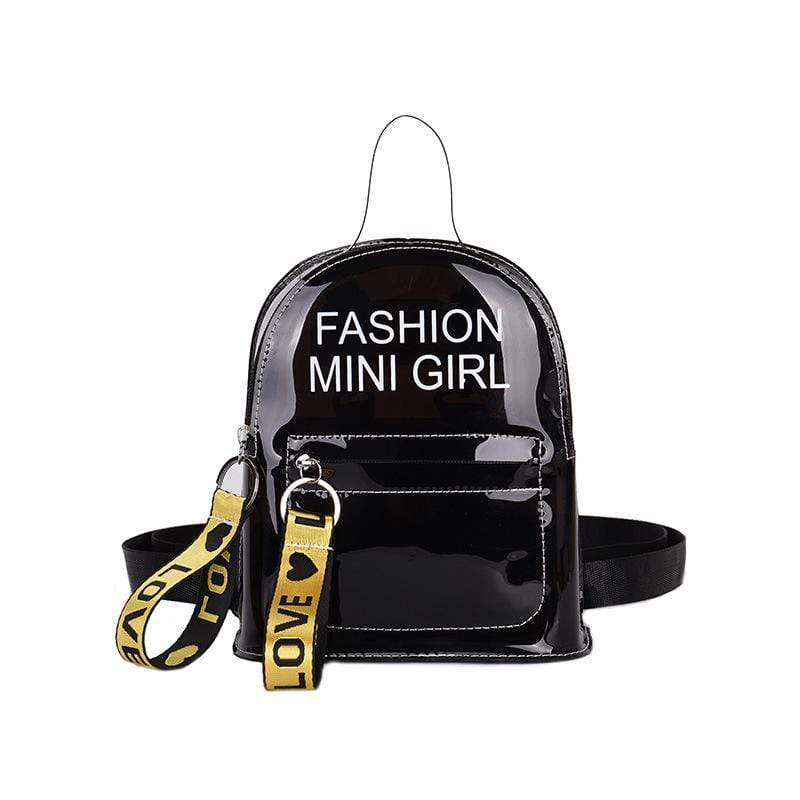 Obangbag Black Letter Printed Unisex Chic Casual Cute Summer Clear Transparent Plastic Backpack for Children
