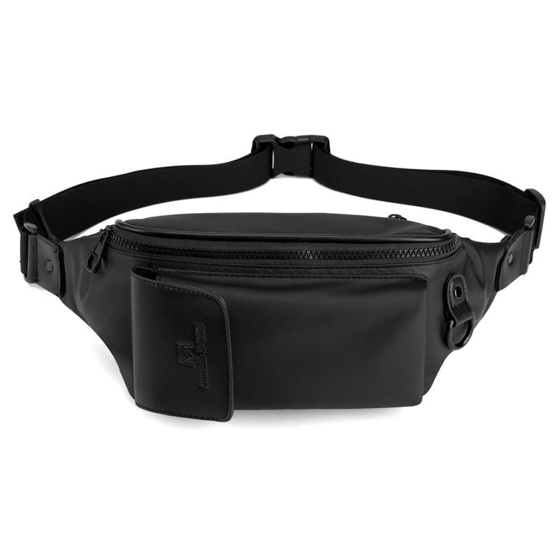 Obangbag Black Men Chic Multifunction Casual Waterproof Leather Chest Bag Waist Bag Waterproof Fanny Pack