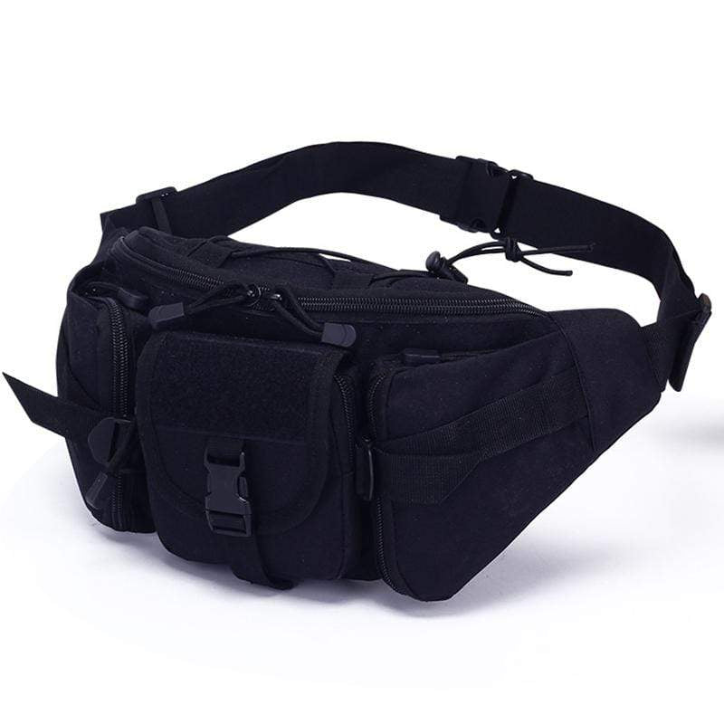 Obangbag Black Men Multifunction Multi Pockets Roomiy Outdoor Waterproof Waist Bag for Sport