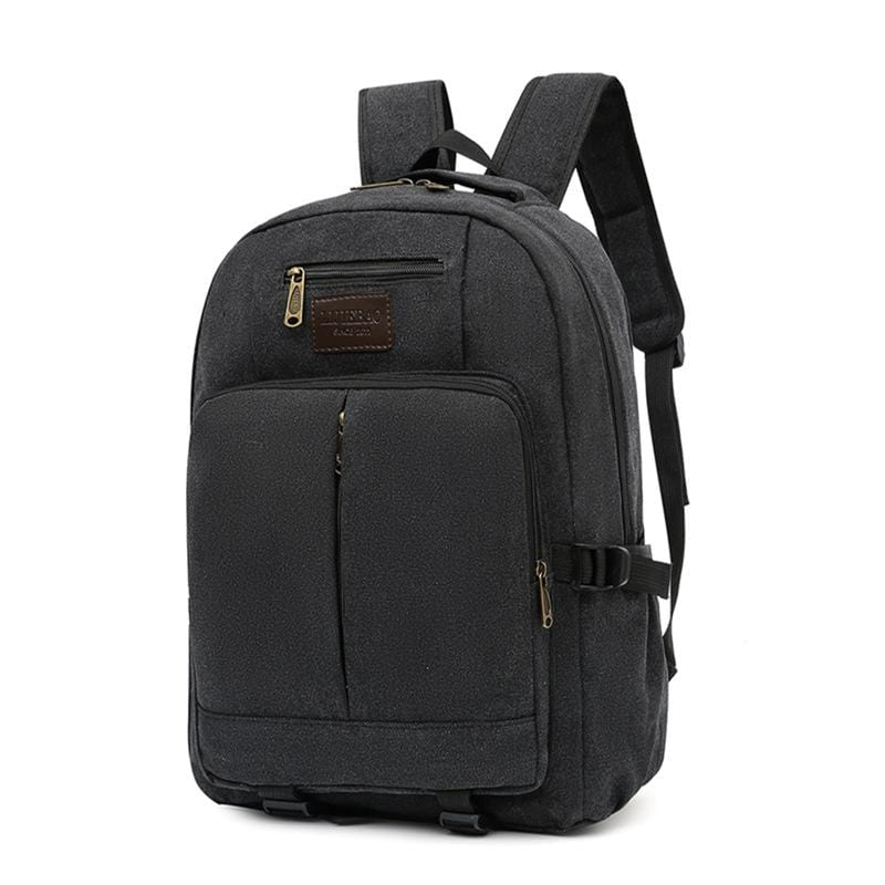 Obangbag Black Men Outdoor Large Capacity Multi Pockets Multifunction Travel Canvas Backpack Bookbag for School