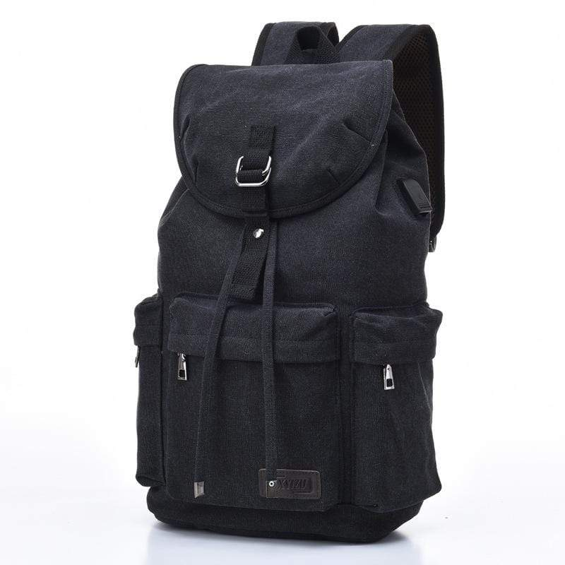 Obangbag Black Men Simple Big Large Capacity Multi Pockrts Outdoor Daily Canvas Backpack Bookbag