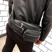 Obangbag black Multi Function Multi Pockets Fashion Leather Chest Bag