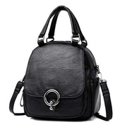 Obangbag Black Multi Function Soft Leather Classical Retro Vintage Backpack Travel Bag Crossbody Bag