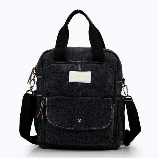 Obangbag Black Multi Function Unisex Canvas Messenger Bag Backpack