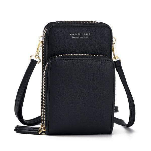Obangbag Black Multi-Pocket Multi Layer Mini Crossbody Phone Bag