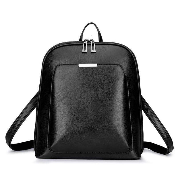 Obangbag Black Multi Pockets Retro Vintage Oil Wax Leather Women Travel Computer Laptop Large Backpack