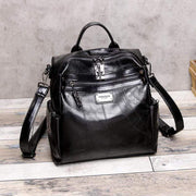 Obangbag Black Multi Purpose Retro Oil Wax Leather Vintage Backpack Shoulder Bag
