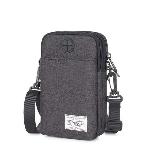 Obangbag Black Multifunction Phone Bag Outdoor Leisure Pockets Shoulder Bag Multi Layer Mini Bag