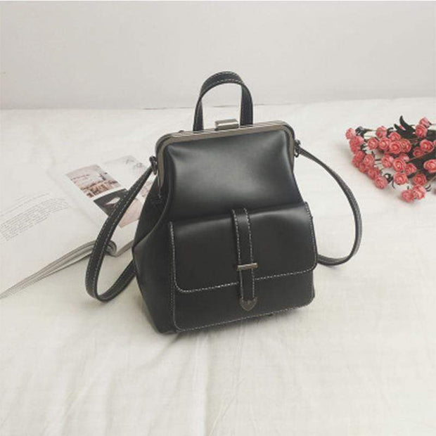 Obangbag Black Multifunction Retro Vintage Backpack Shoulder Bag Backpack