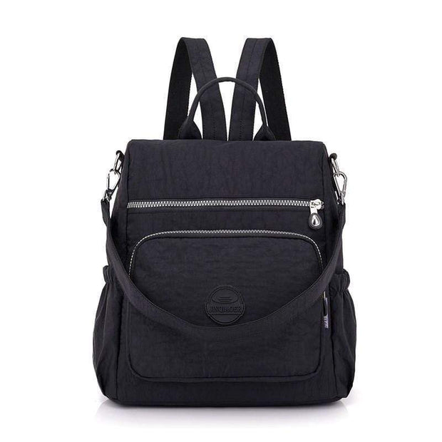 Obangbag Black Multifunctional Ladies Shoulder Bag Wild Travel Waterproof Nylon Large Capacity Backpack