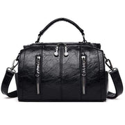 Obangbag Black Multifunctional School Large Capacity Female Leather Tote Bag Backpack