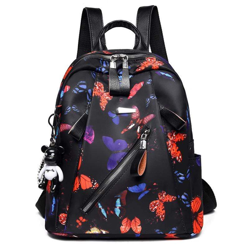 Obangbag Black+Orange Women Chic Printed Multi Pockets Large Capacity Daily Oxford Backpack for Travel