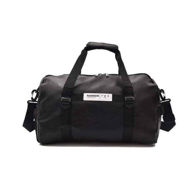Obangbag Black Portable Leather Waterproof Notebook Travel Bag Fitness Bag