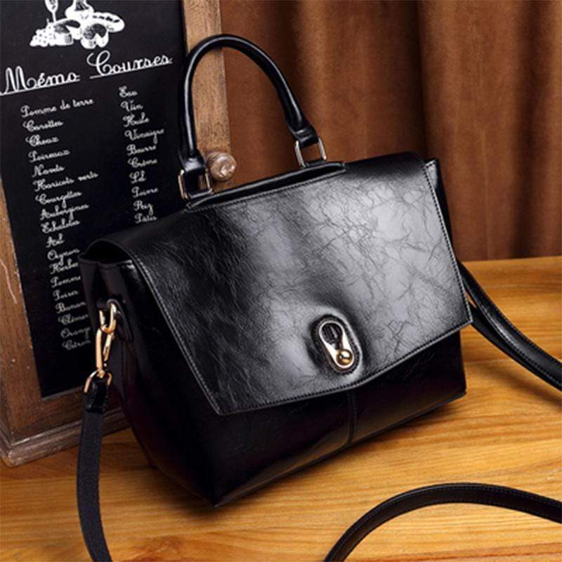 Obangbag Black Retro Large Capacity Ladies Vintage Leather Handbag Shoulder Bag