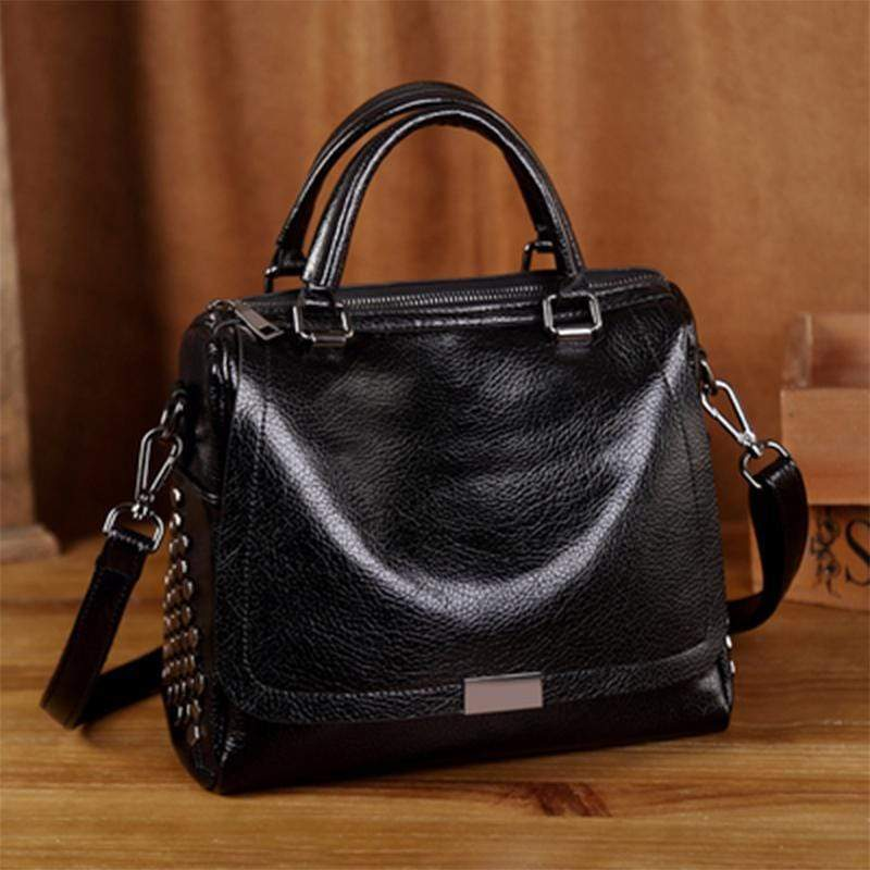 Obangbag Black Retro Vintage Anti theft Leather Messenger Handbag Shoulder Bag