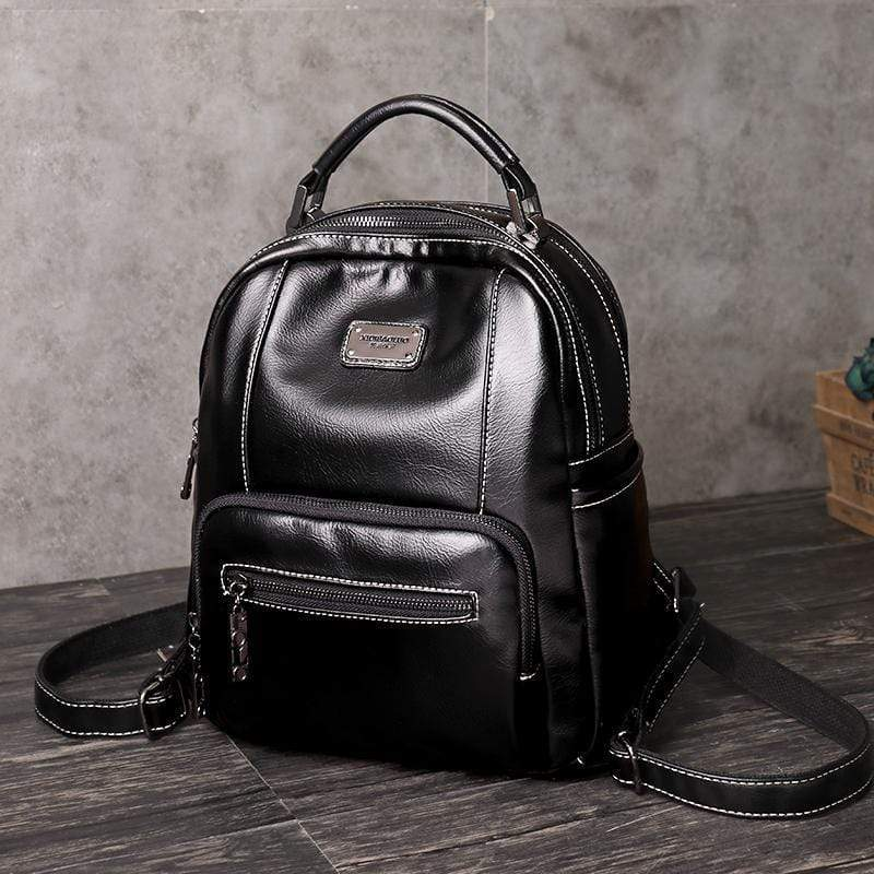 Obangbag Black Retro Vintage Pockets Large Capacity Oil Wax Backpack