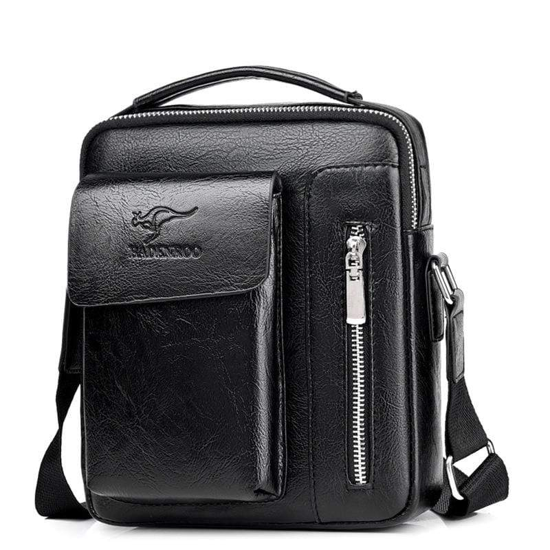 Obangbag Black / Small Men Retro Multi Pockets Professional Large Capacity Leather Handbag Crossbody Bag for Work