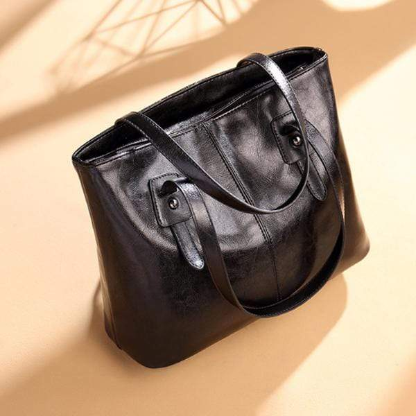 Obangbag Black / Small Women Stylish Simple Large Capacity Multifunction Oil Wax Leather Tote Bag Handbag