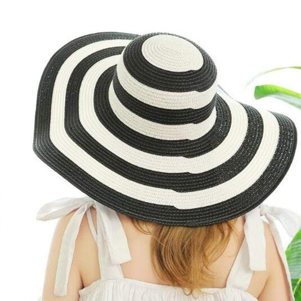Obangbag Black Striped Sun Hat Women Overflowed Floppy Sun hats
