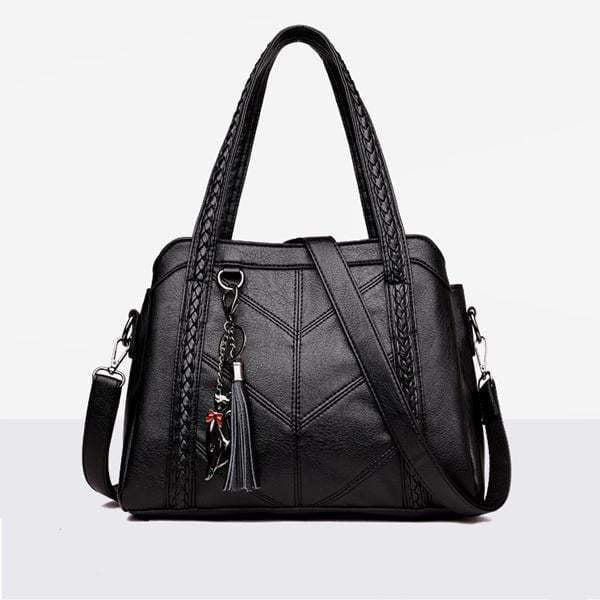 Obangbag black Stylish Multi-layer Large Capacity Handbag iPad Bag
