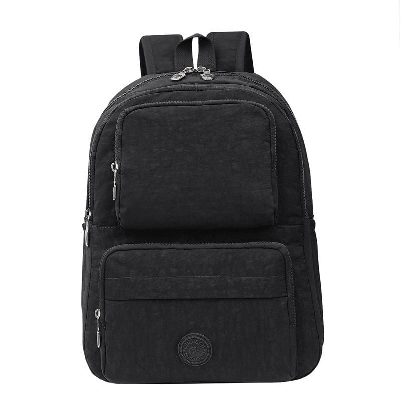 Obangbag Black Unisex Big Casual Multi Pockets Multifunction Lightweight Nylon Backpack for Work for Travel