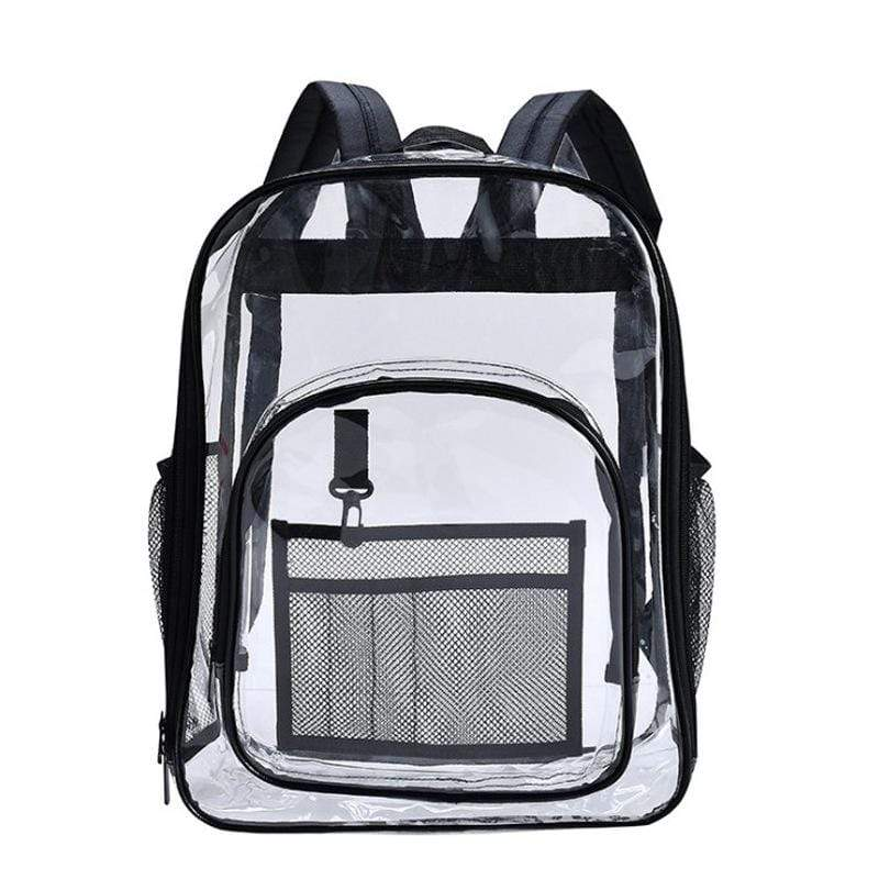 Obangbag Black Unisex Chic Big Large Capacity See Through Clear Transparent Plastic PVC Backpack Bookbag for School