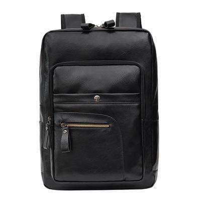 Obangbag Black Unisex Chic Casual Roomy Multifunction Leather Backpack Laptop Bag Bookbag for Travel for Work