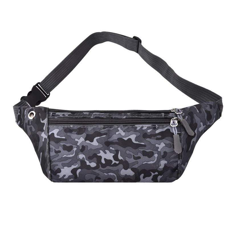 Obangbag Black Unisex Chic Outdoor Running Anti-theft Roomy Sport Oxford Waterproof Fanny Pack Waist Bag Phone Bag