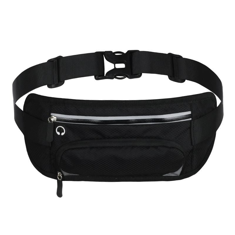 Obangbag Black Unisex Large Capacity Earphone Access Outdoor Waterproof Fanny Pack Waist Bag for Sport