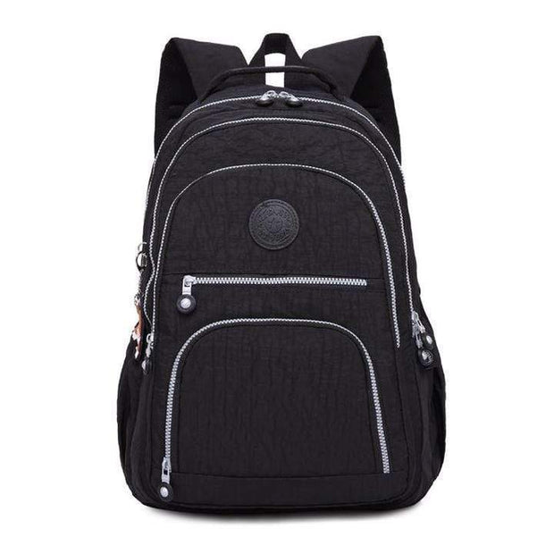 Obangbag Black Waterproof Travel Backpack Multi Pocket Washed School Bag