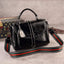 Obangbag Black Woman Vintage Leather Multi Pocket Handbag