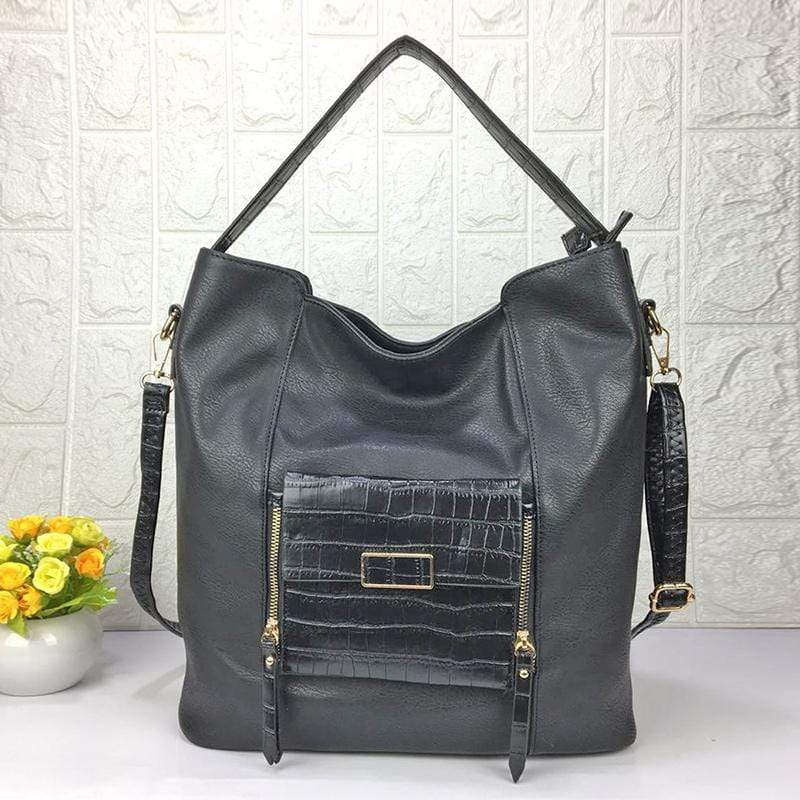 Obangbag Black Women Big Stylish Vintage Large Capacity Multi Pockets Leather Shoulder Bag Crossbody Bag