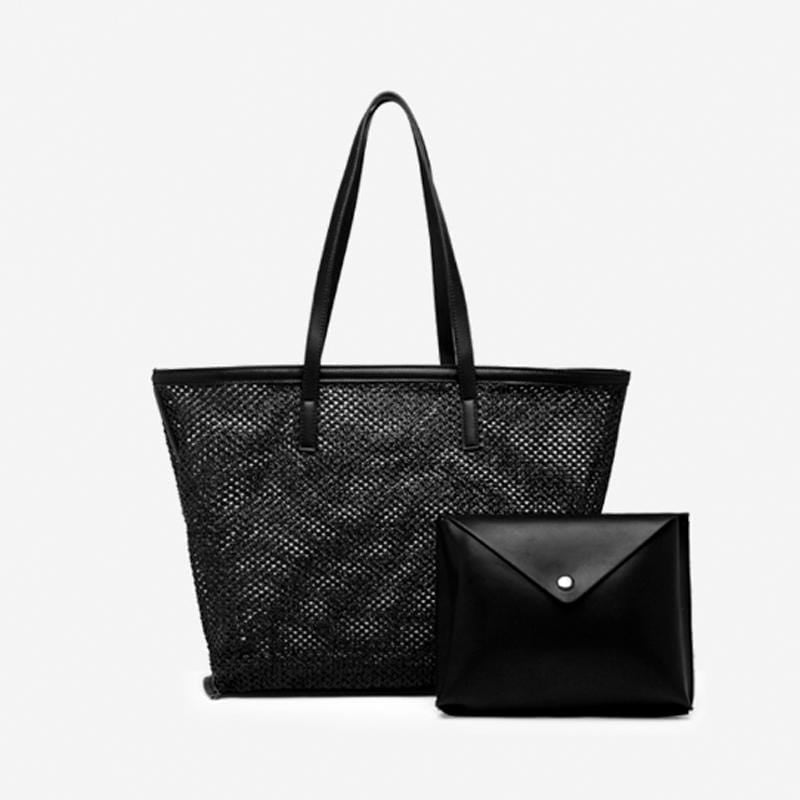 Obangbag Black Women Chic Big Summer Large Capacity Woven Straw Tote Bag Handbag Bag Set for Travel