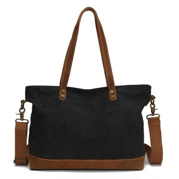 Obangbag Black Women Chic Casual Large Capacity Leather Canvas Tote Bag Crossbody Bag for Work