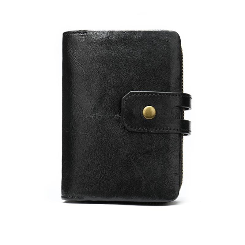 Obangbag Black Women Chic Cute Large Capacity Multifunction Genuine Leather Wallet