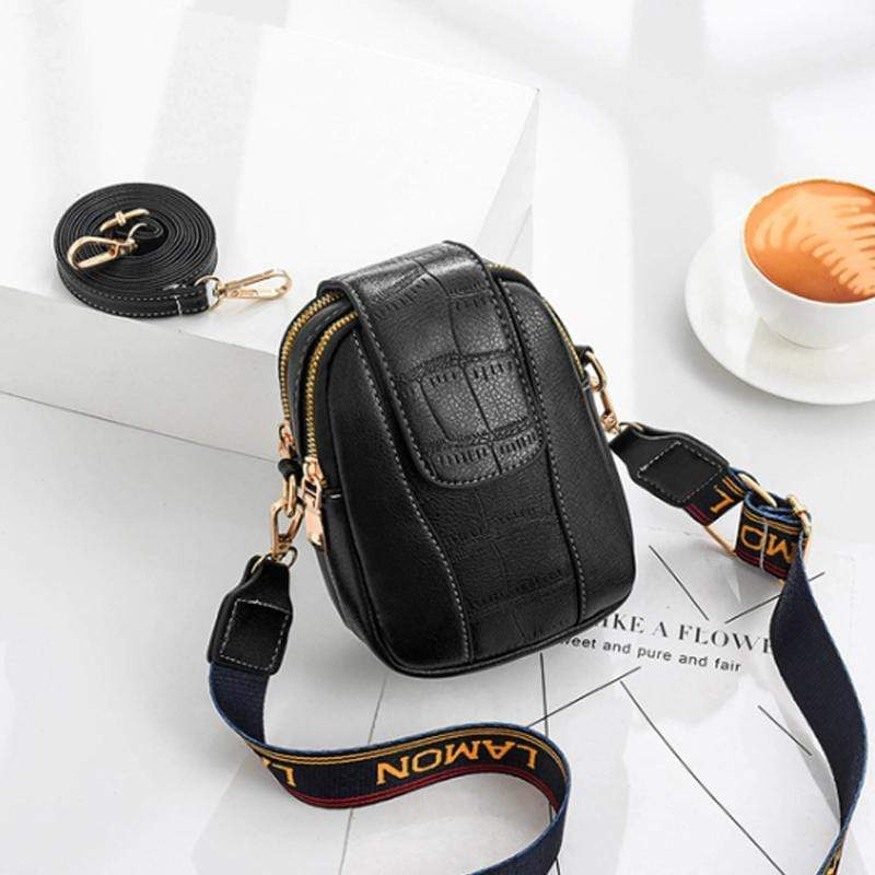 Obangbag Black Women Chic Cute Mini PU Leather Crossbody Bag Shoulder Bag Phone Bag