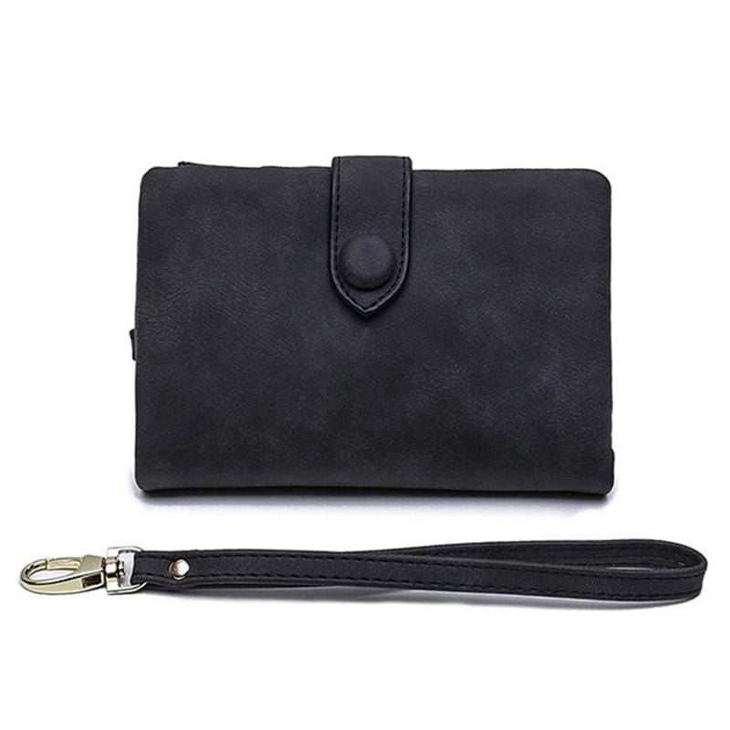 Obangbag Black Women Chic Elegant Multi Layers Roomy Lightweight Leather Wallet Clutch Bag